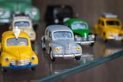 Retro colorful sport toy cars Stock Photos