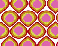 Retro colorful teardrops collage. Retro yellow, orange, pink and red teardrops graphic design royalty free illustration