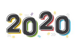 Retro Colorful 2020 New Year Vector Text stock illustration