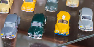 Retro colorful toy sport cars Stock Photos
