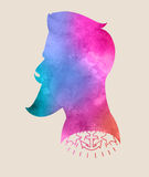 Retro colorful watercolor label badge or logo Hipster 2015 with. Beard. T-Shirt Print royalty free illustration