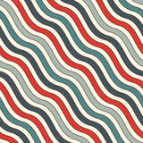 Retro colors diagonal wavy stripes seamless pattern. Repeated line wallpaper. Abstract background with classic motif. Retro colors diagonal wavy stripes Royalty Free Illustration