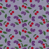 Retro colors fruits seamless pattern  lilac background Stock Photo