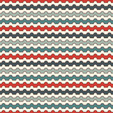 Retro colors horizontal wavy stripes seamless pattern. Blue and red repeated lines wallpaper with classic motif. Retro colors horizontal wavy stripes seamless Royalty Free Stock Image