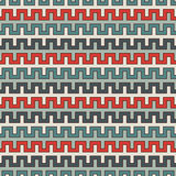 Retro colors seamless pattern with battlement curved lines. Repeated geometric figures wallpaper. Modern surface. Stock Photos