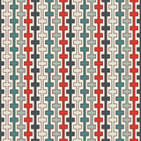 Retro colors seamless pattern with battlement curved lines. Repeated geometric figures wallpaper. Modern surface. Stock Photo