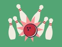 Retro colpo di bowling Immagini Stock Libere da Diritti