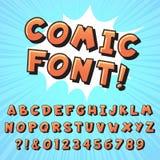 Retro comic book font. Super hero comics letters, vintage cartoon heroes fonts and pop art comics alphabet vector stock illustration