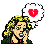 Retro comic book pop art girl crying broken-hearted vector Stock Image