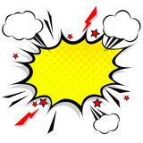 Retro comic design speech bubbles. Flash explosion with clouds. Lightning, stars. Pop art vector elements Vector Illustration