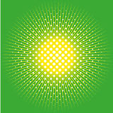 Retro comic pop background dotted halftone design and sun on green Stock Images