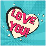 Retro comic speech bubble with LOVE YOU text Royalty Free Stock Photography