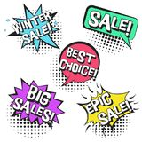 Retro comic speech bubbles with BIG SALES text. Bright contrast retro comic speech bubbles set with colorful WINTER SALE words. Black outline balloons with Stock Photography