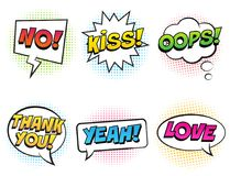 Retro comic speech bubbles with colorful shadows set on white background. Royalty Free Stock Images