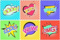 Retro Comic Speech Bubbles With Omg Wow Cool Boom Royalty Free Stock Photography