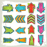 Retro comic style arrows set Royalty Free Stock Photography