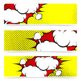 Retro comic style explosion collision flyer collection Stock Photography