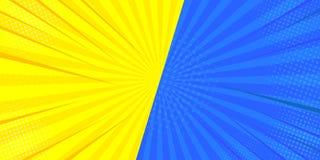 Retro comico di Pop art Fondo blu e giallo del supereroe Scoppi del fulmine dei punti di semitono Fumetto contro Illustrazione di illustrazione di stock
