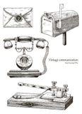 Retro communicatieapparatuurhand die uitstekende stijl trekken vector illustratie