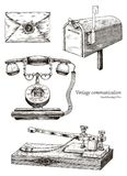 Retro communication equipment hand drawing vintage style. Clip art isolated on white background vector illustration