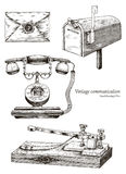 Retro communication equipment hand drawing vintage style. Isolated on white background Royalty Free Stock Photos