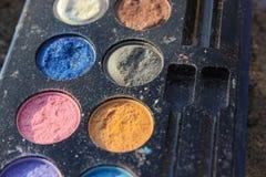 Retro compõe, forma de 60s 70s, azul, branco, brilhante Imagem de Stock Royalty Free