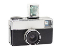 Retro Compact Camera. With Flash Cube, isolated on white, with clipping path Royalty Free Stock Image