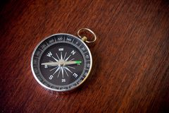 Retro compass on brown background Royalty Free Stock Photos