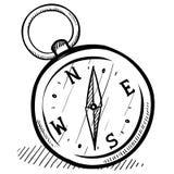 Retro compass sketch royalty free illustration