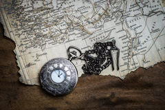 Retro compass and vintage map Stock Images