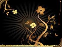 Retro composizione nel fiore Immagine Stock