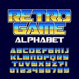 Retro computer game alphabet font. Pixel gradient letters and numbers. 80`s arcade video game typography Stock Image