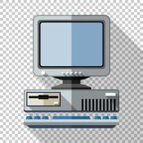 Retro computer icon with keyboard and CRT monitor in flat style on transparent background. Retro computer icon with keyboard and CRT monitor in flat style with vector illustration