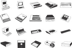 Retro Computer Illustrations Royalty Free Stock Photos
