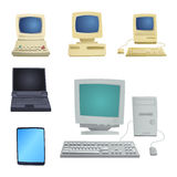 Retro computer item classic antique technology style business personal equipment and vintage pc desktop hardware Stock Images