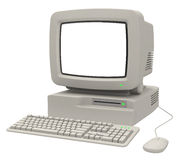 Retro Computer. With monitor keyboard and mouse Royalty Free Stock Image
