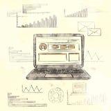 Retro computer portatile con carta del grafico di finanza di lerciume la vecchia Fotografia Stock Libera da Diritti
