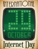 Retro Computer Screen and Reminder Date for Internet Day, Vector Illustration Royalty Free Stock Photography