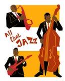 Retro concept van de jazzmuziek, band, oude schoolillustratie voor reclame, affiches en dekkingsfestival Stock Afbeeldingen