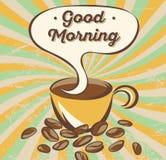 Retro concept van de koffiebanner De reclame van affiche met het van letters voorzien: goedemorgen Stock Foto