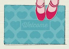 Retro concept welcome mat with hearts and girls shoes vector illustration
