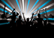 Retro Concert Crowd. Silhouette of an energetic concert crowd, with blue, gray and white rays extending out from a bright area in the middle Royalty Free Stock Photos