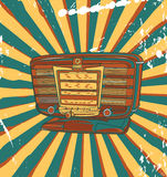 Retro concert poster. Vector retro concert poster with old radio Royalty Free Stock Image