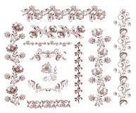 Retro confini senza cuciture floreali d'annata ed elementi di progettazione Immagine Stock Libera da Diritti