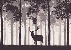A retro coniferous forest with a silhouette of a deer Royalty Free Stock Photos