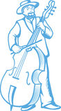 Retro contrabass player cellist. Stock Images