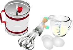 Retro cooking and baking utensils stock illustration