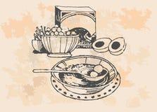Retro cooking pots. A set of retro grapes design elements. Monochrome vector illustration in woodcut style vector illustration