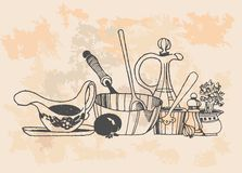 Retro cooking pots. A set of retro grapes design elements. Monochrome vector illustration in woodcut style royalty free illustration