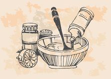 Retro cooking pots Royalty Free Stock Images